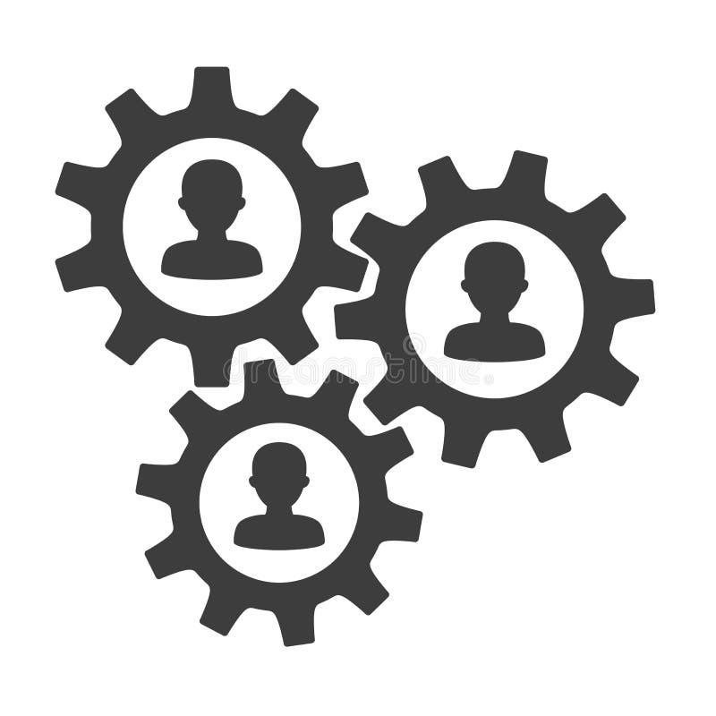 Concept de travail d'équipe avec des icônes de personnes dans le mécanisme de vitesse illustration libre de droits