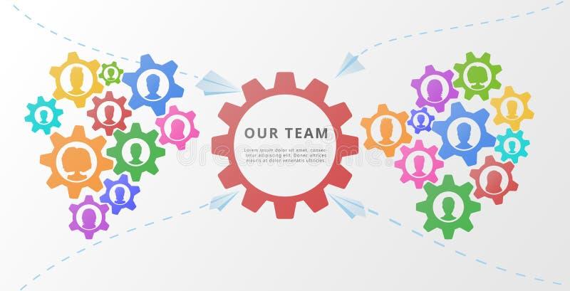Concept de travail d'équipe avec des vitesses ou des roues dentées Conception plate de bannière ou d'affiche pour la formation d' illustration de vecteur