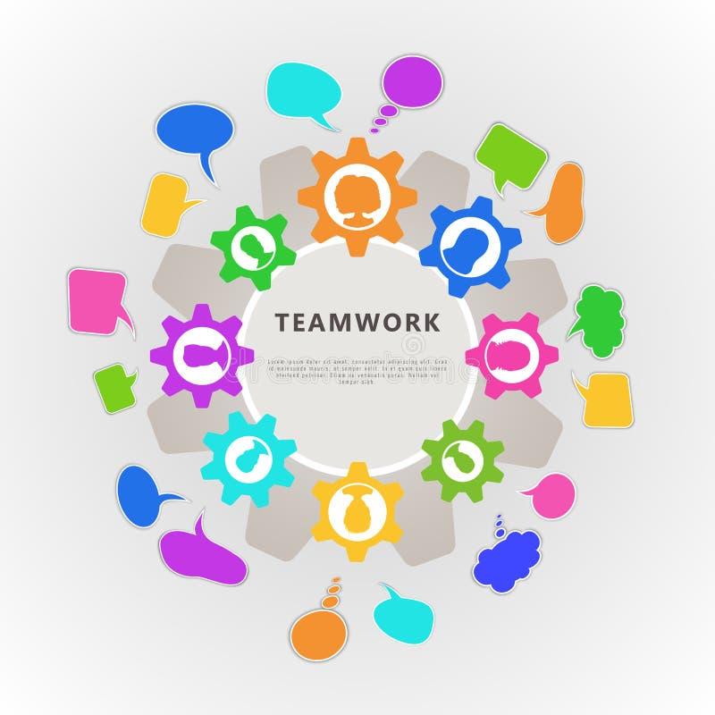 Concept de travail d'équipe avec la roue dentée, l'avatar d'icône de personnes et les bulles de la parole Conception de calibre d illustration stock