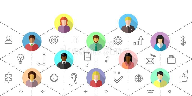 Concept de travail d'équipe avec les gens d'affaires divers agissant l'un sur l'autre illustration libre de droits