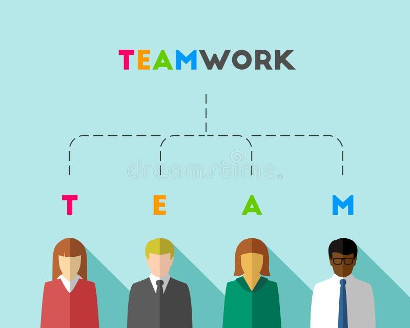 Concept de travail d'équipe avec les gens d'affaires multiculturels illustration libre de droits