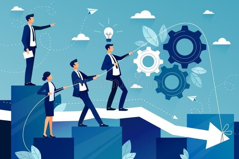 Concept de travail d'équipe efficace à la société commerciale illustration de vecteur