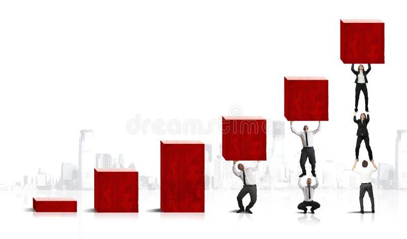 Travail d'équipe et bénéfice d'entreprise illustration de vecteur