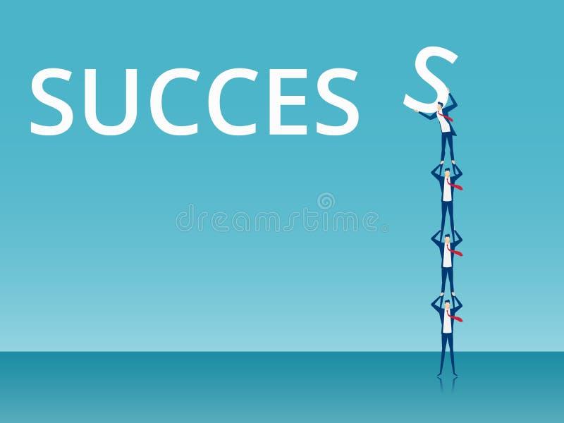 Concept de travail d'équipe et de succès Équipe d'affaires soulevant et poussant S au mot réussi de charme illustration stock