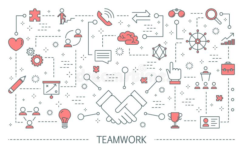 Concept de travail d'équipe Idée des gens d'affaires travaillant ensemble illustration de vecteur