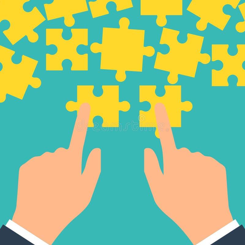 Concept de travail d'équipe Puzzle se tenant dans se relier d'homme d'affaires de mains Conception plate de style d'illustration  illustration libre de droits
