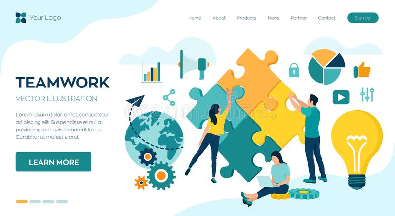 Concept de travail d'?quipe E ?quipe d'affaires Symbole de travail d'équipe, coopération, association, association et illustration stock