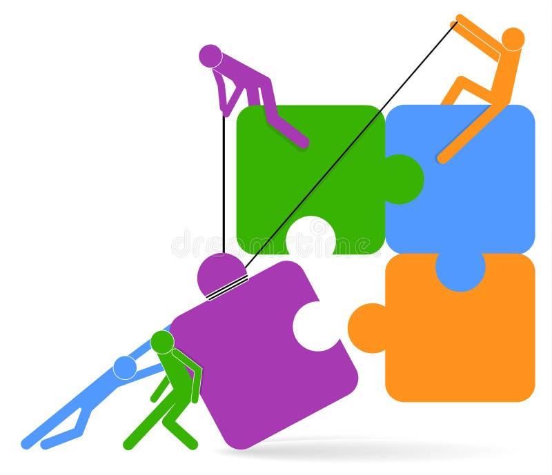 Concept de travail d'?quipe Puzzle et icône de personnes Hommes d'affaires tenant le puzzle Illustration de vecteur Séance de réf illustration libre de droits