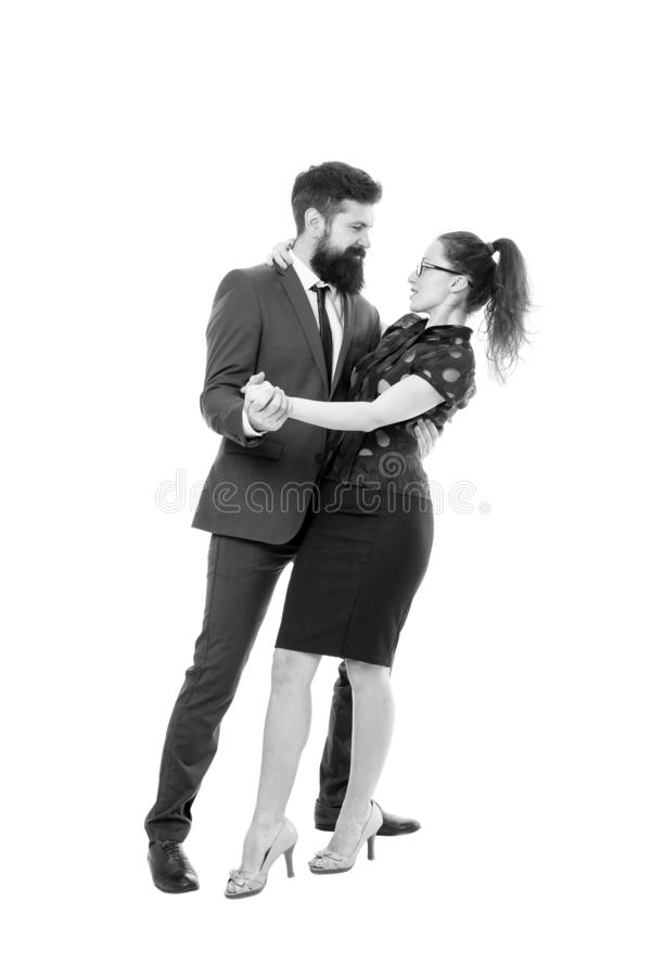 Concept de travail r?veur Affaire du travail de bureau Flirt avec le patron D'abord les impressions sont tout L'homme et la femme photographie stock libre de droits
