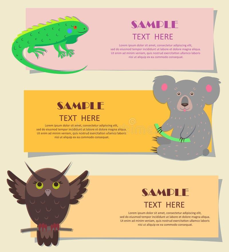 Concept de trois bêtes horizontales sur des cartes d'enfants illustration stock