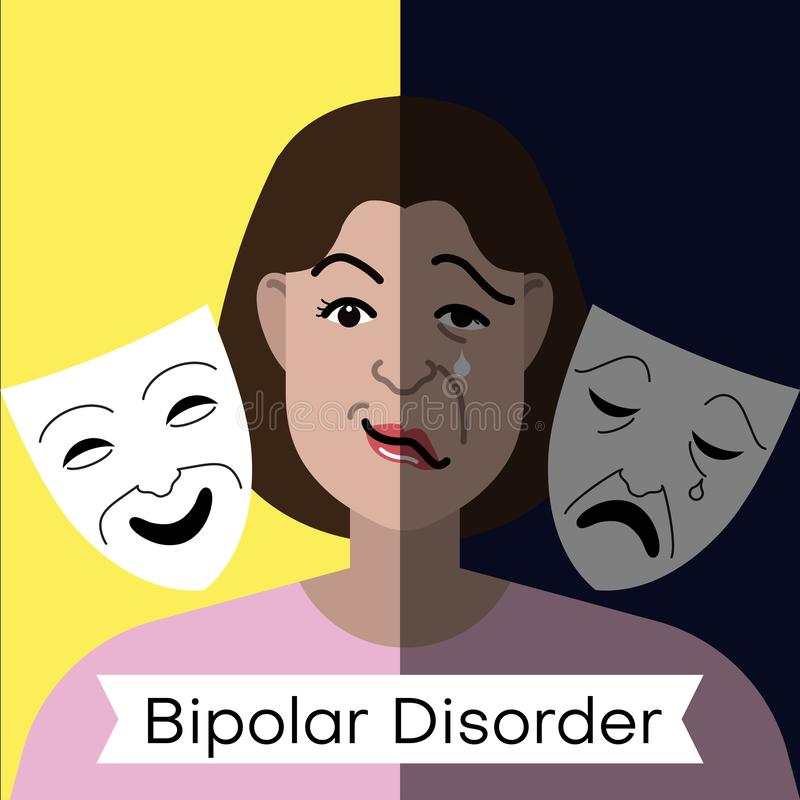 Concept de trouble bipolaire Jeune femme avec de doubles masques d'expression et de théâtre de visage illustration stock