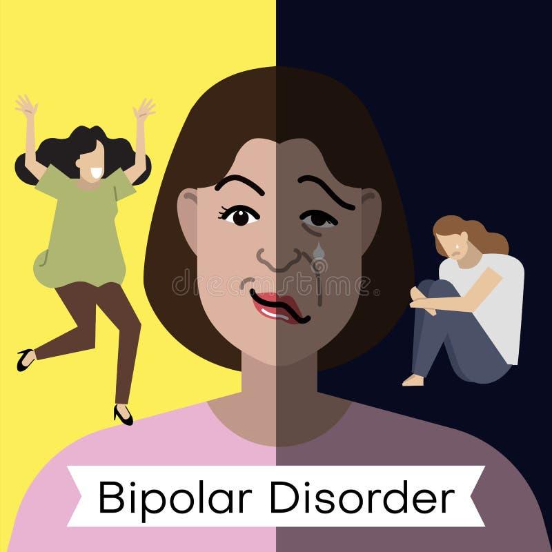 Concept de trouble bipolaire Jeune femme avec la double expression de visage et à différentes poses illustration de vecteur
