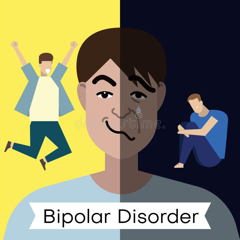 Concept de trouble bipolaire Jeune homme avec la double expression de visage et à différentes poses illustration stock