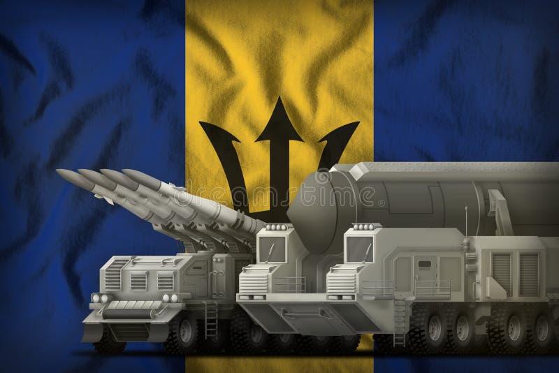 Concept de troupes de fusée des Barbade sur le fond de drapeau national illustration 3D illustration stock