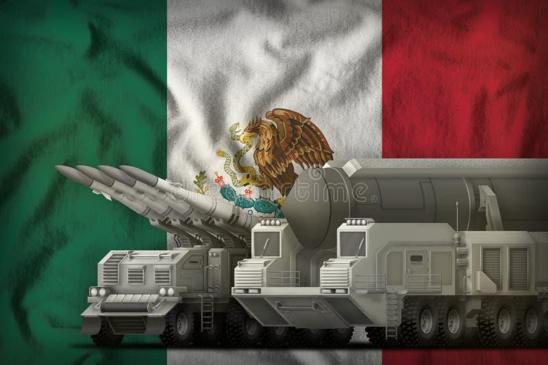 Concept de troupes de fusée du Mexique sur le fond de drapeau national illustration 3D illustration de vecteur
