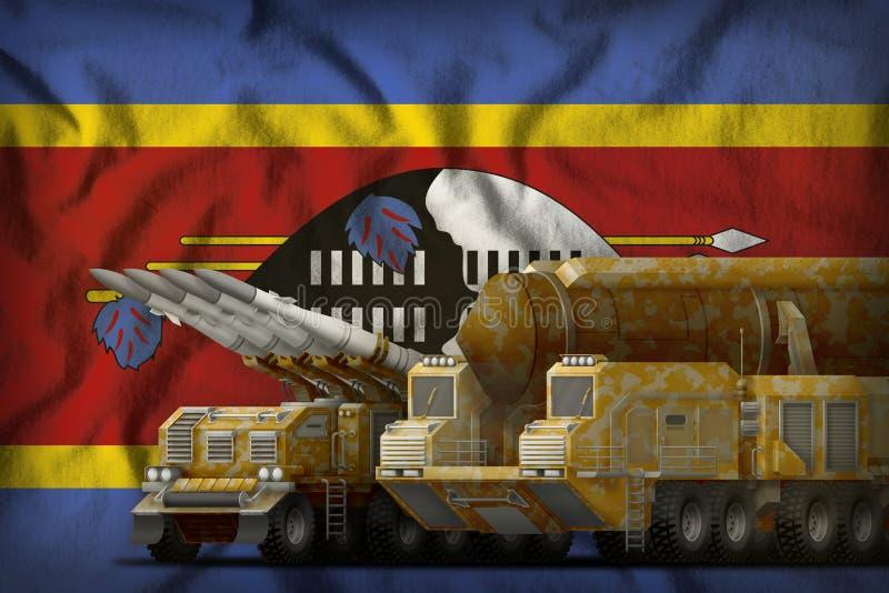 Concept de troupes de fusée du Souaziland sur le fond de drapeau national illustration 3D illustration stock