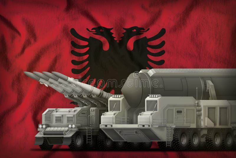 Concept de troupes de fusée de l'Albanie sur le fond de drapeau national illustration 3D illustration stock