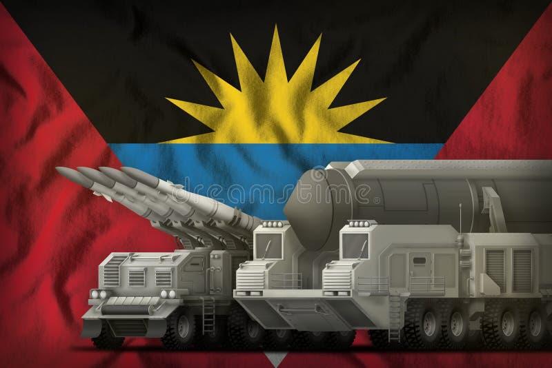 Concept de troupes de fusée de l'Antigua-et-Barbuda sur le fond de drapeau national illustration 3D illustration stock