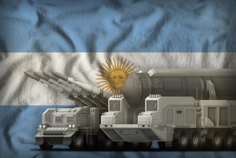 Concept de troupes de fusée de l'Argentine sur le fond de drapeau national illustration 3D illustration stock