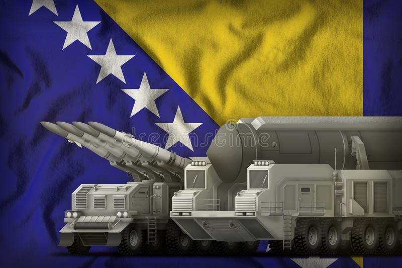 Concept de troupes de fusée de la Bosnie-Herzégovine sur le fond de drapeau national illustration 3D illustration de vecteur