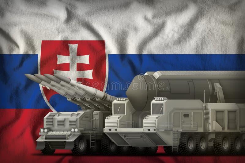 Concept de troupes de fusée de la Slovaquie sur le fond de drapeau national illustration 3D illustration stock