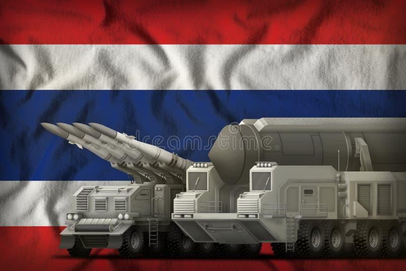 Concept de troupes de fusée de la Thaïlande sur le fond de drapeau national illustration 3D illustration de vecteur
