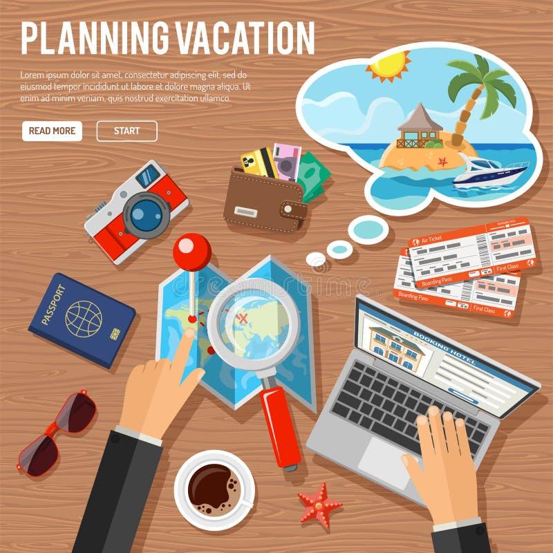 Concept de vacances de planification illustration de vecteur