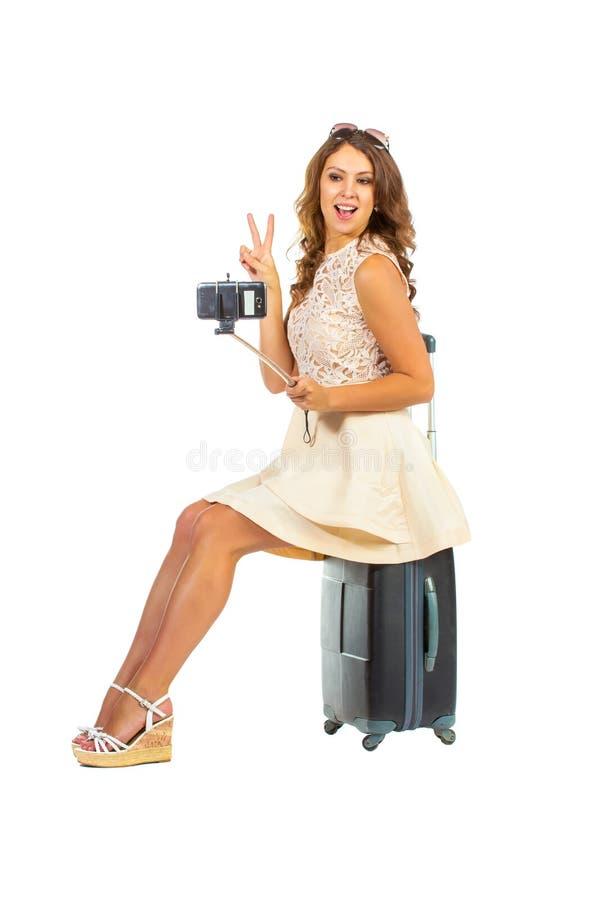Concept de vacances, femme dans les réseaux sociaux photographie stock
