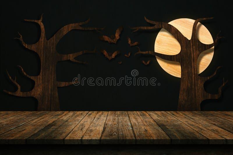 Concept de vacances de Halloween Étagère en bois vide image libre de droits