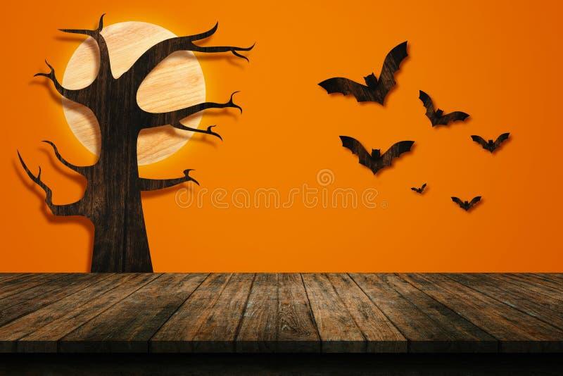 Concept de vacances de Halloween Étagère en bois vide images libres de droits