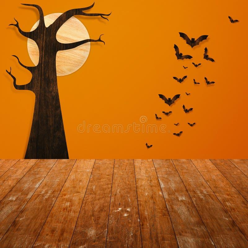 Concept de vacances de Halloween Étagère en bois vide photo libre de droits