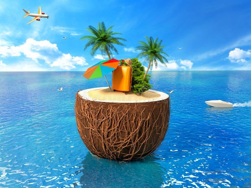 Concept de vacances Palmier, valise et un parapluie illustration de vecteur