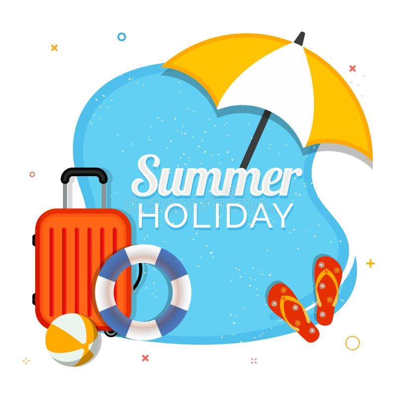 Concept de vacances de vente d'été avec le sac de déplacement, boule de volée, fli illustration de vecteur