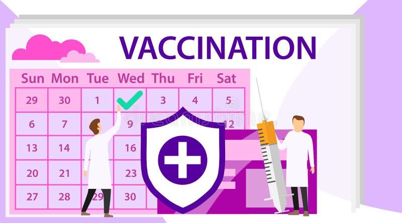 Concept de vaccination Docteur avec le vaccin dans la seringue Heure de vacciner Seringue d'illustration de vecteur avec le vacci illustration libre de droits