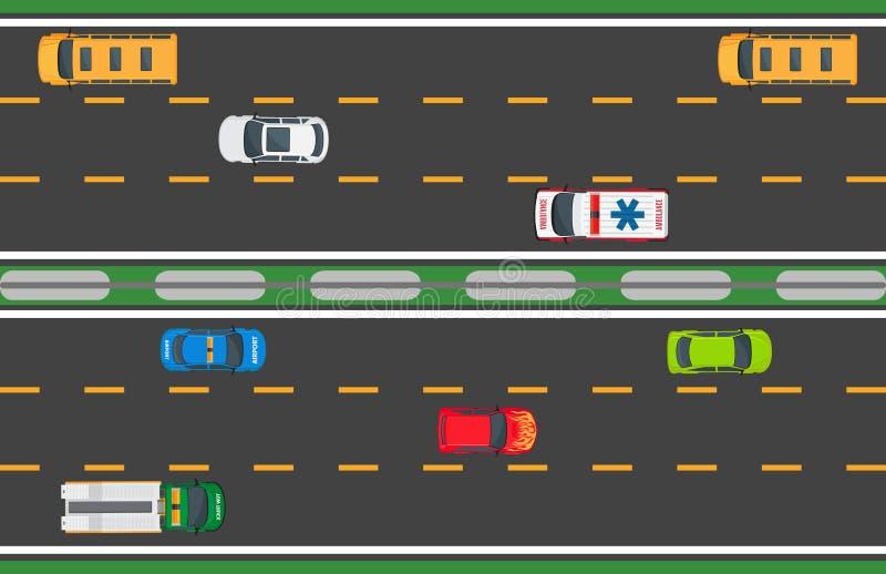 Concept de vecteur de circulation urbaine avec des voitures sur la route illustration libre de droits
