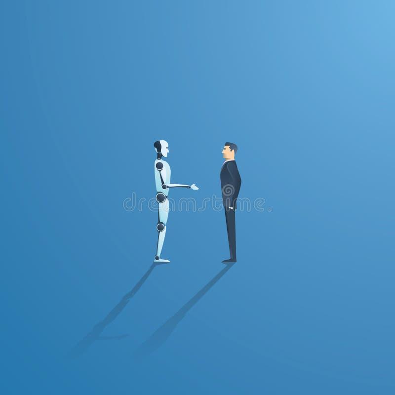 Concept de vecteur d'AI ou d'intelligence artificielle avec la poignée de main de robot d'AI avec l'humain Symbole de la future c illustration stock