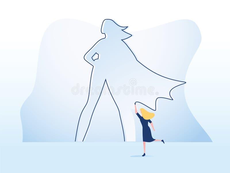 Concept de vecteur d'ambition et de motivation d'affaires avec le super h?ros de dessin de femme d'affaires sur le mur Symbole de illustration de vecteur