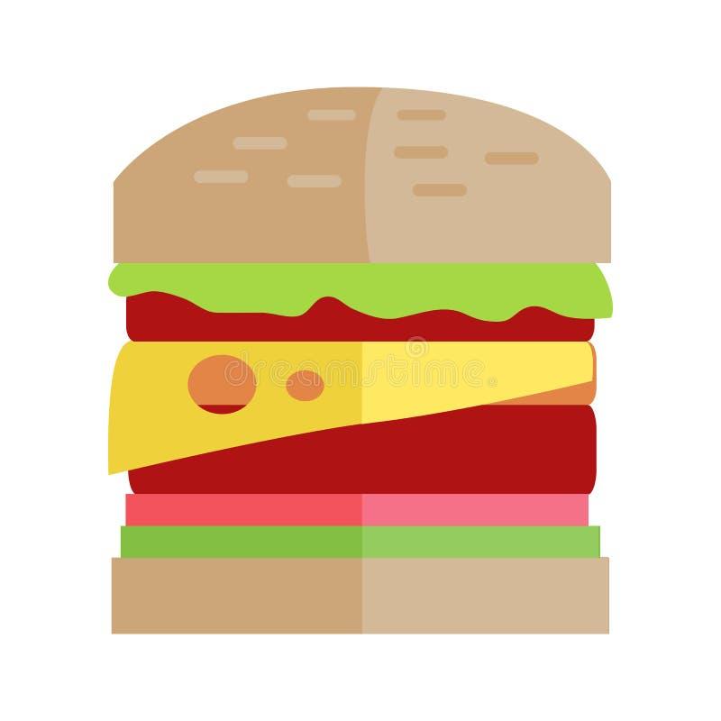 Concept de vecteur d'hamburger d'aliments de préparation rapide dans la conception plate illustration de vecteur