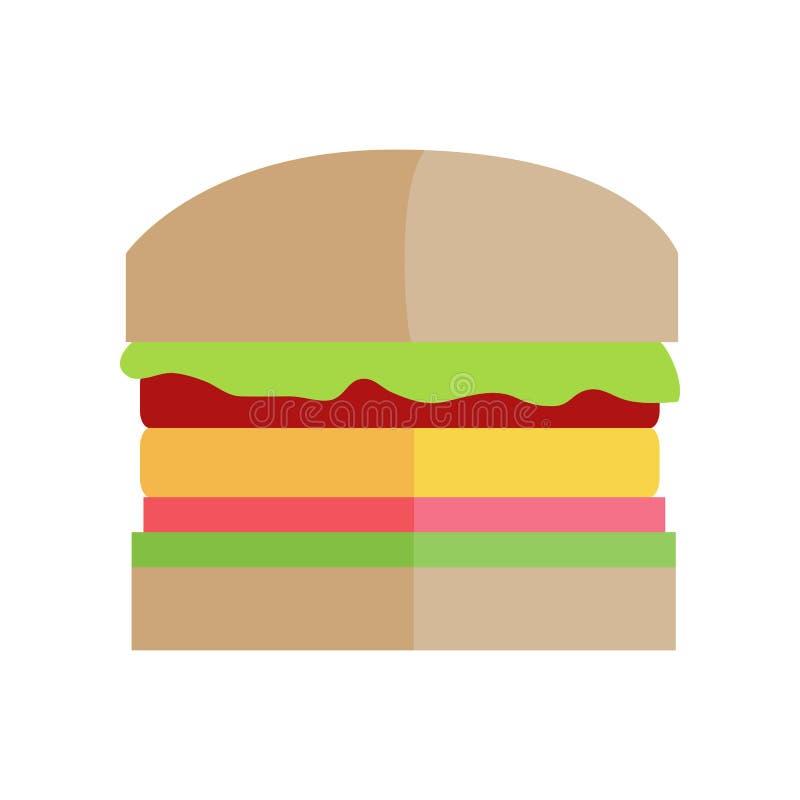 Concept de vecteur d'hamburger d'aliments de préparation rapide dans la conception plate illustration stock