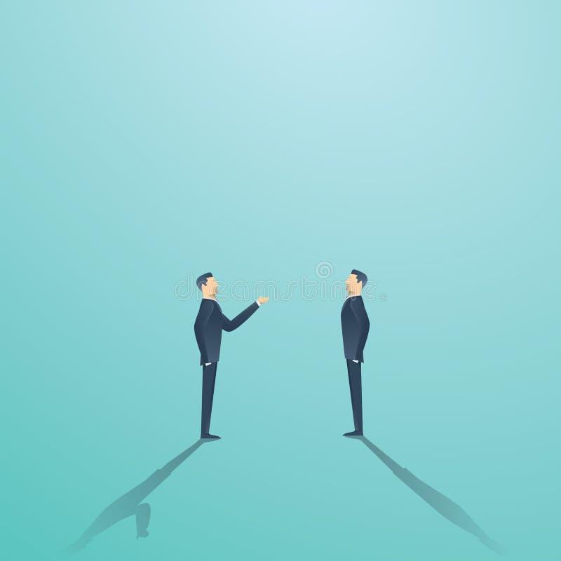 Concept de vecteur de négociation d'affaires avec deux hommes d'affaires ayant la conversation ou l'argument illustration stock