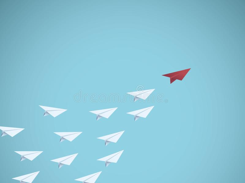 Concept de vecteur de direction d'affaires avec le chef plat de papier rouge Symbole de gestion, travail d'équipe, réussite comme illustration libre de droits