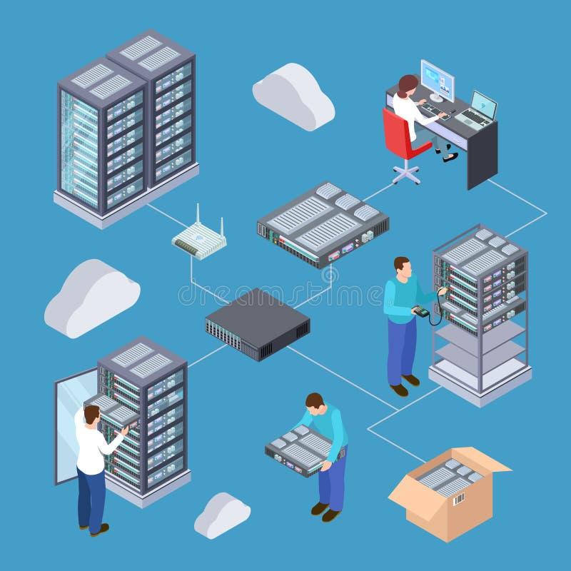 Concept de vecteur de l'ingénieur 3D de serveur de technologie de l'information Serveurs isométriques, stockage de nuage, matérie illustration libre de droits