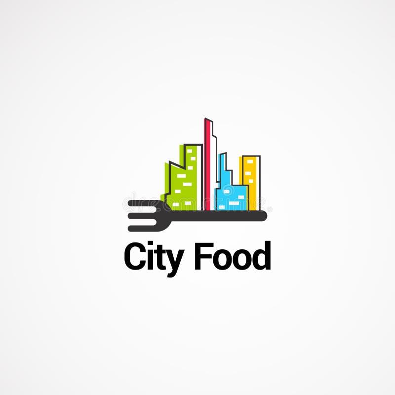 Concept de vecteur de logo de nourriture de ville avec la fourchette, l'icône, l'élément, et le calibre pour la société illustration libre de droits