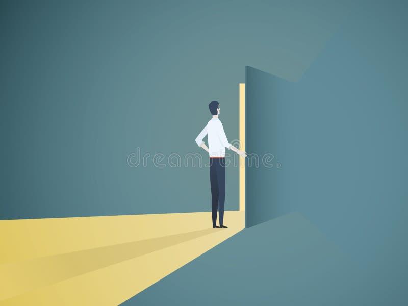 Concept de vecteur de porte d'ouverture d'homme d'affaires Symbole de nouveaux carrière, opportunités, entreprises et défis illustration de vecteur