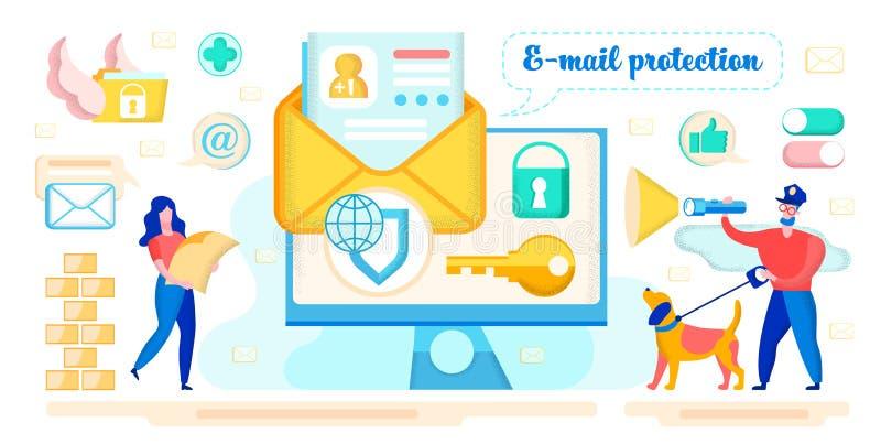 Concept de vecteur de protection contre la correspondance des courriels illustration stock