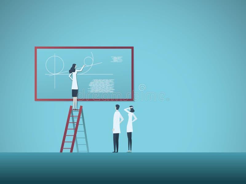 Concept de vecteur de recherches de la Science avec la femme expliquant l'équation et la fonction de mathématiques aux collègues  illustration libre de droits