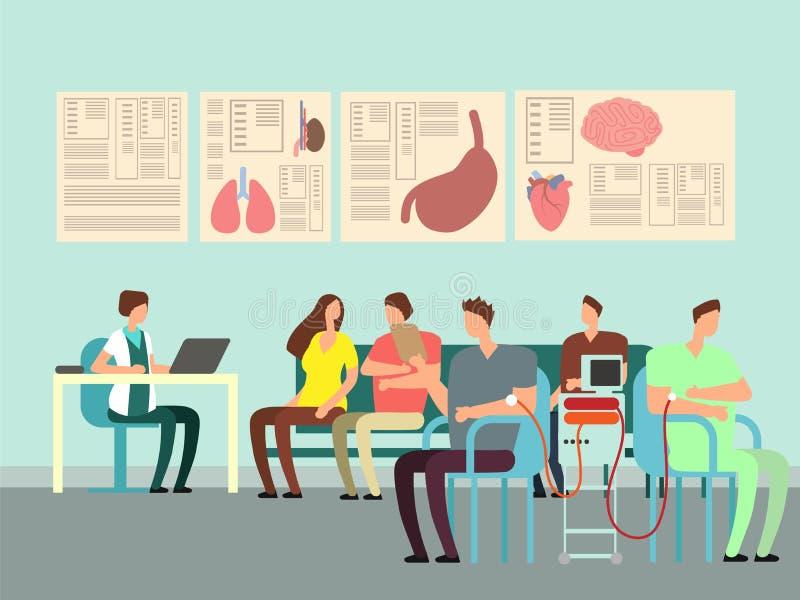 Concept de vecteur de transfusion sanguine Illustration de donation avec des personnes de bande dessinée dans le bureau de docteu illustration de vecteur
