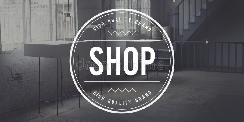 Concept de vente au détail de vente du marché de commerce d'affaires de boutique image libre de droits