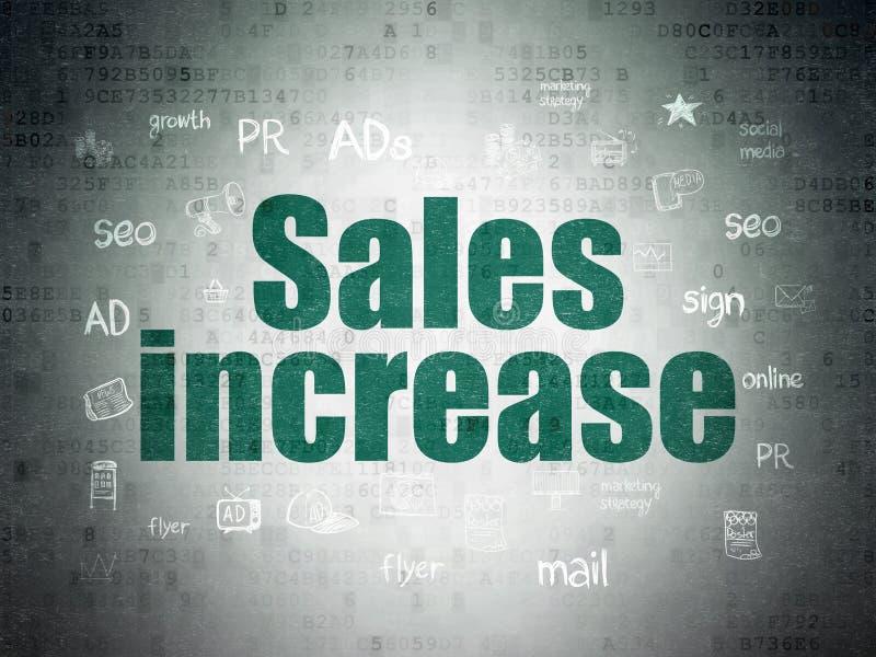Concept de vente : Augmentation de ventes sur le fond de papier de données numériques illustration stock