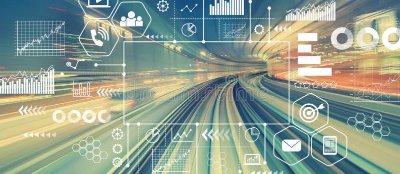Concept de vente avec la technologie à grande vitesse abstraite image libre de droits